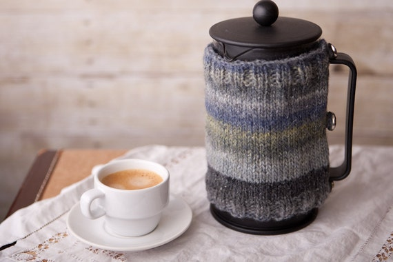 French Press Coffee Cozy - Hand Knit - Father's Day
