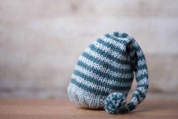Newborn Merino Silk and Cashmere Blend Elf Hat - Blue Stripes - Photography Prop or Family Keepsake