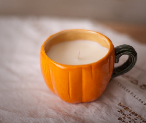 SALE 40% off - Was 14.95 - Pumpkin Demitasse Cups with Soy Candles - set of two