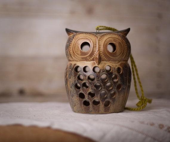 Owl Ceramic Votive Candle Holder - Brown Beige Grey
