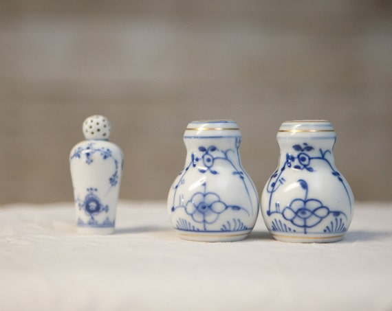 Vintage Blue and White Salt and Pepper Shakers - Germany