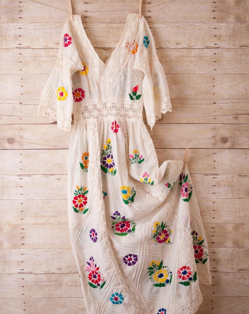 White dress folk wedding boho hippie maxi hand embroidered for White hippie wedding dress