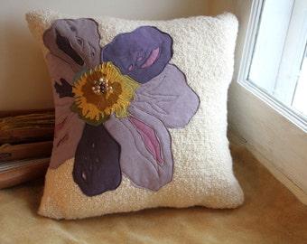 Decorative beige Throw Pillow cream linen by originalthrowpillows