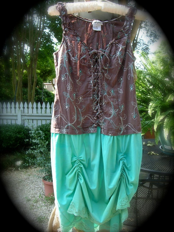 SALE  Marley Teal and Brown Dress  SALE