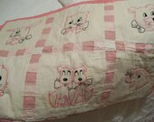 Vintage 1950s Baby Quilt with Pink Scottie Dogs Kittens Bear and Duck
