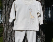 Organic Cotton Jersey Toddlers and Kids Pajamas with Embroidered Giraffe