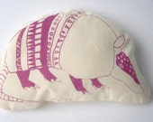 Decorative Animal Pillow - Pink Armadillo