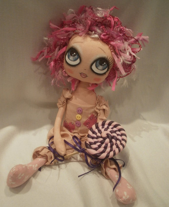 Rosalie Pink Art Cloth Cute Rag Doll By Lesleyjanedolls On