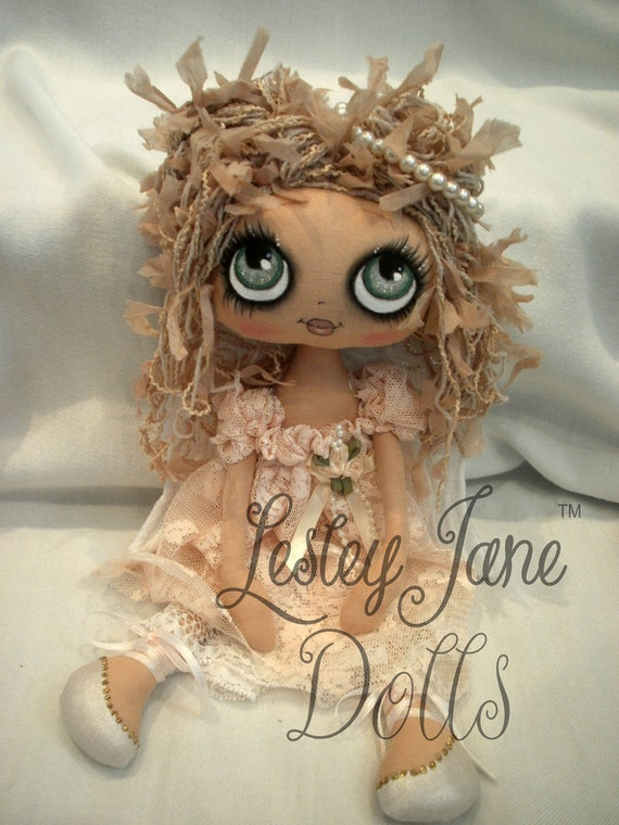 Briony, Collectable Cloth Art Guardian Angel Doll by Lesley Jane Dolls