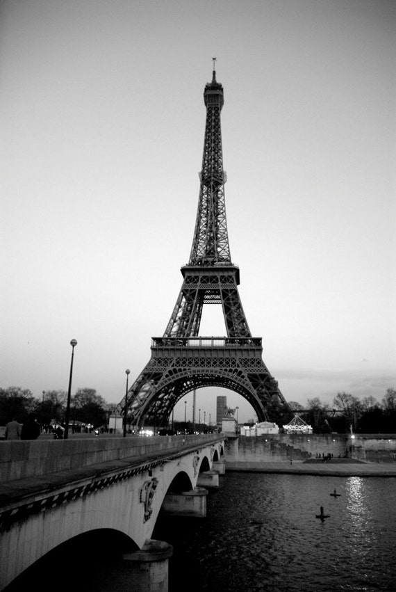 Eiffel Tower Black And White Landscape Landscape Print Eiffel Tower