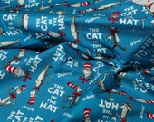The Cat In The Hat Book Cover Fabric in Turquoise-Dr. Seuss- 1 yard