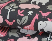 LAST PIECE- FLANNEL Zoology in Bloom by Michael Miller- just under 1 yard