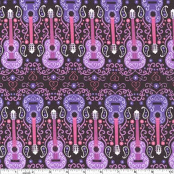 Western Pink Sweet Guitars by Michael Miller - 1 yard