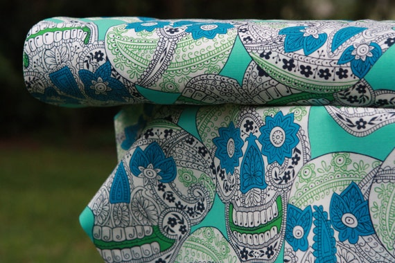 Indigo Skull Fabric- Tatoo Turquoise 7391B -Alexander Henry 1 yard