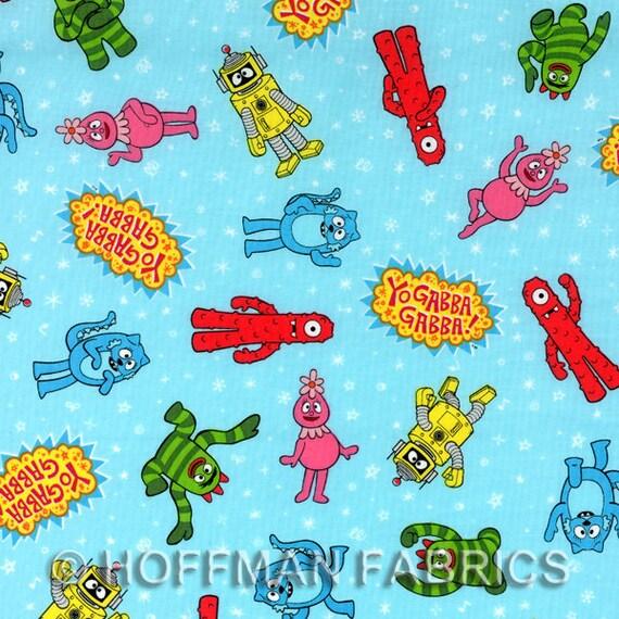 Yo Gabba Gabba Fabric in Blue by Hoffman Fabrics 1 yard