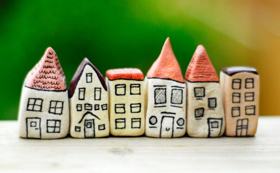Peaches and cream orange miniature houses
