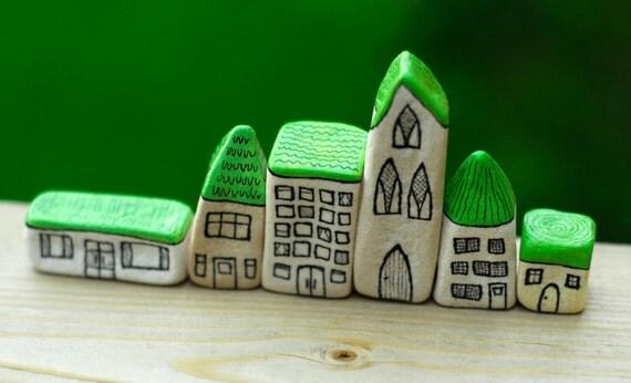 Pea green miniature houses