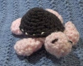 Crochet Baby Sea Turtle Plush (Pink and Brown)