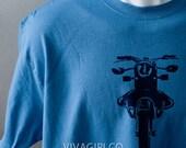 MOTORCYCLE - Denim Blue & Navy Blue Hand Screen Printed TShirt -  Size:  XLarge XL