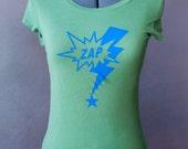 Green Hand Screen Printed ZAP T-Shirt - Form-Fitting Size: Medium