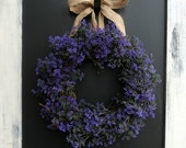 Purple Berry  and Burlap Wreath
