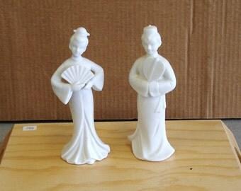 Vintage BRADLEY Porcelain Two Mat Finish Figurines Japan.
