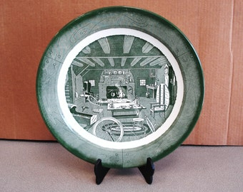 Vintage COLONIAL HOMESTEAD Green Platter Tray By Royal.