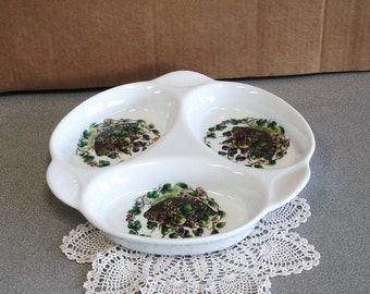 LESFRUITS Hand Painted Divided Serving Platter By NATURES MOORTES France.