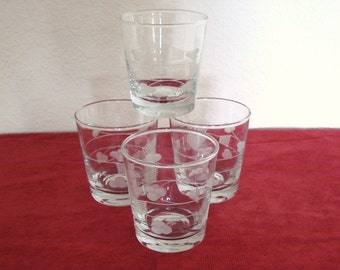 Set of 4 Beverage Tumblers Glasses Etched Glass.