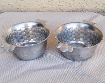 Vintage CAST ALUMINUM Hand Forged EVERLAST Metal 2 Single serving Bowls.