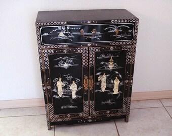 Vintage Oriental Hand Painted Soapstone Inlaid Wood Cabinet.