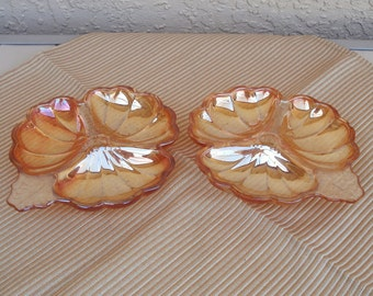 Vintage CARNIVAL Glass Peach Color 2 Divided Plates.