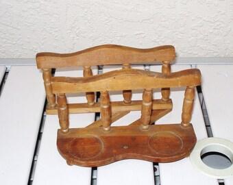 Vintage Wood Wooden Hand Made Napkins Holder.