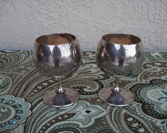 Vintage GORHAM ORIGINAL Silver Plated Pair Of Brandy Whiskey Goblets