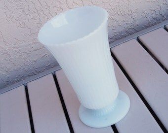 Vintage E. O. Brody Co. Ribbed Footed Milk Glass Vase Model M5000.
