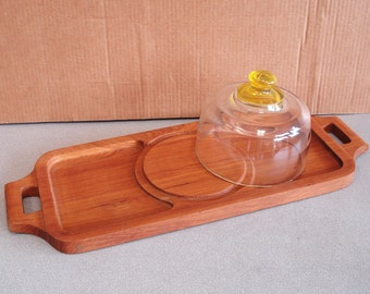 Vintage GOODWOOD Genuine Teak Serving Tray Platter With Glass Dome.