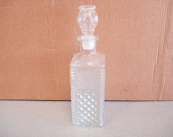 Vintage Clear Glass Bottle Decanter Barware Carafe.