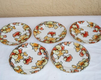 NIPPON Hand Painted 5 Bread And Butter Plates.