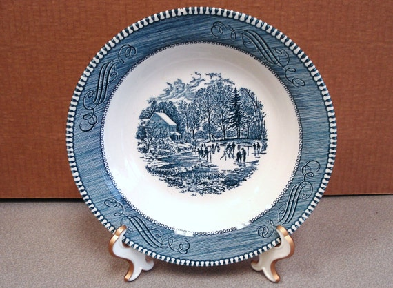 """Vintage Currier & Ives """"Early Winter"""" soup pasta bowl"""