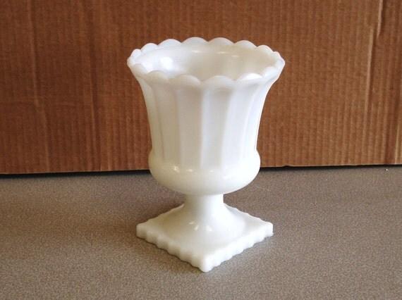 Vintage Milk Glass Pedestal Vase