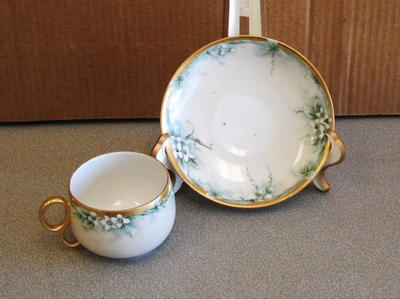 Antique WEHINGER Austria Hand Painted Cup And  Saucer