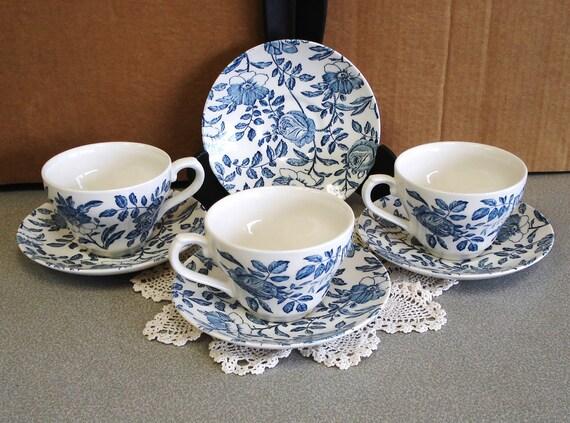 Churchill England Blue Peonies 7 Pieces.