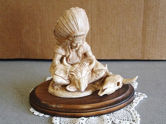 Vintage Porcelain Figurine on Wood Stand by WOODSHED.