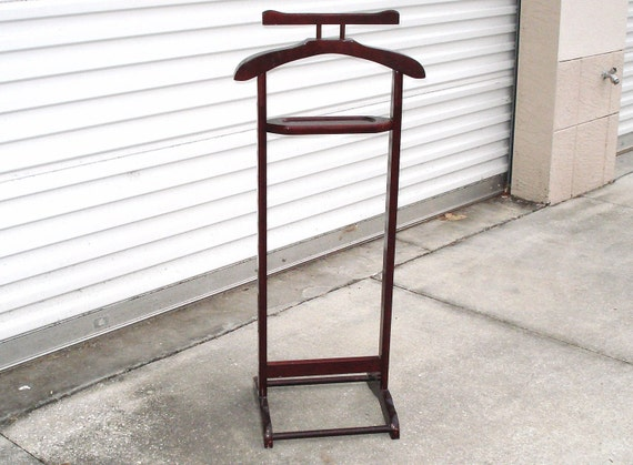 vintage wooden clothes valet stand suit rack cloth office wood