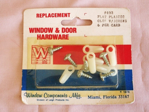 WCM Window And Door Hardware Flat Plastic Clip With Screws Replacing Part.