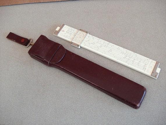 Vintage  POST VERSALOG Slide Rule Instrument With Genuine Leather Case.