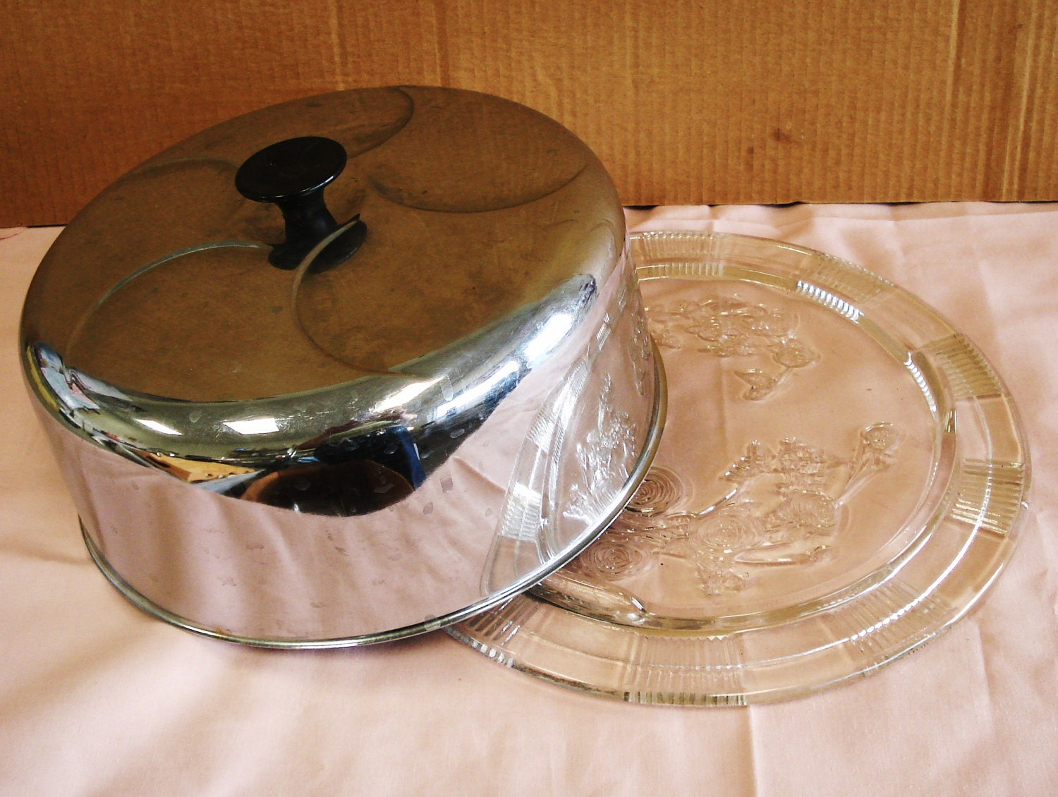 vintage clear glass cake plate with stainless steel cover. Black Bedroom Furniture Sets. Home Design Ideas