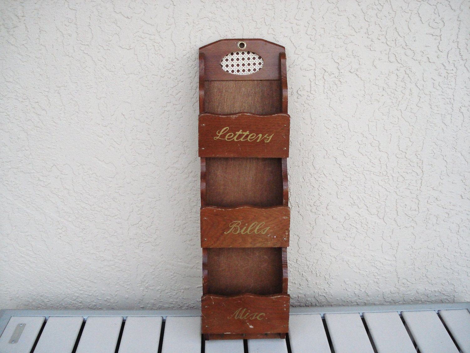 Vintage wooden wood wall mount mail key holder - Wooden letter holder wall mount ...