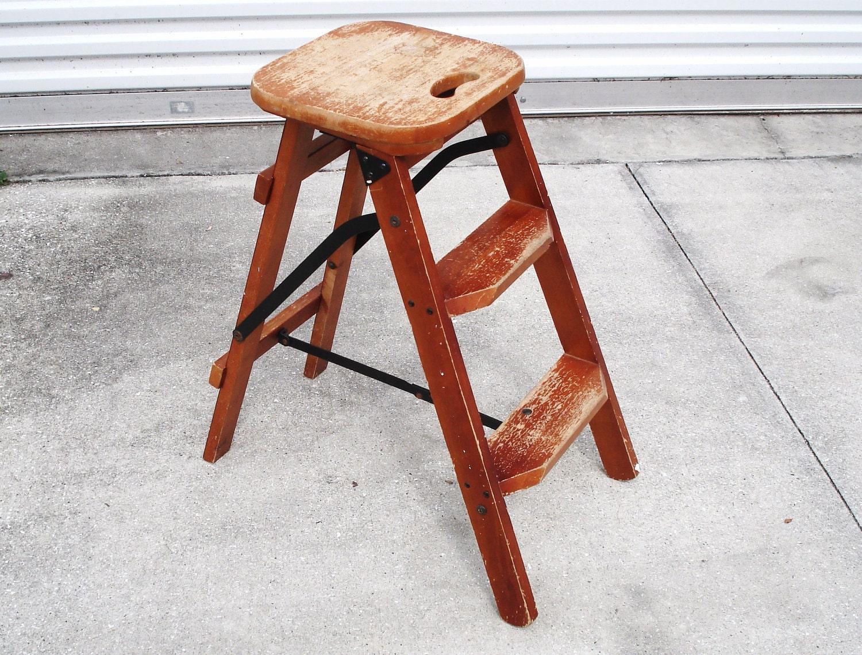 Vintage Wood 3 Steps Household Folding Ladder Stepstool