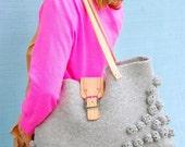READY TO SHIP-Handbag-Shibori gray handknit
